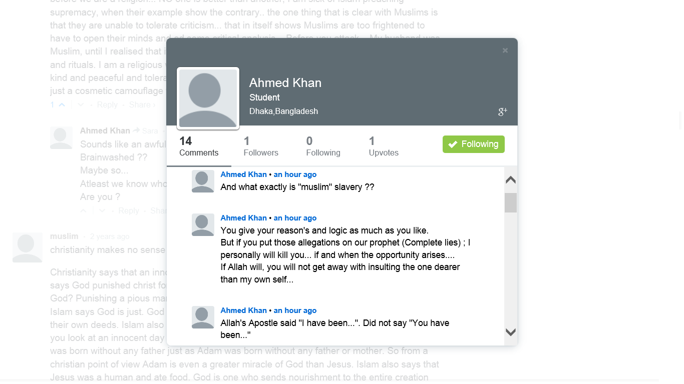 Ahmed Khan threat Disqus profile new