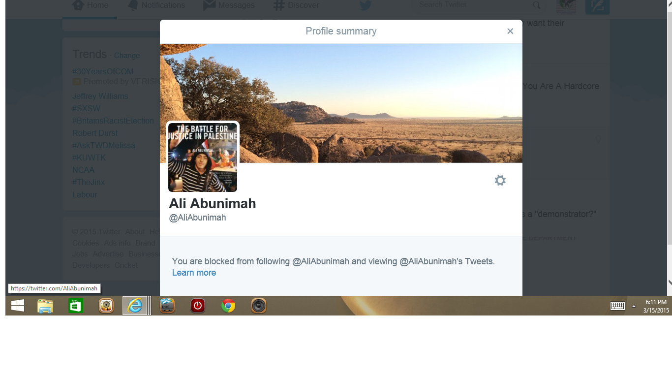 Blocked by 3 Ali Abunimah check