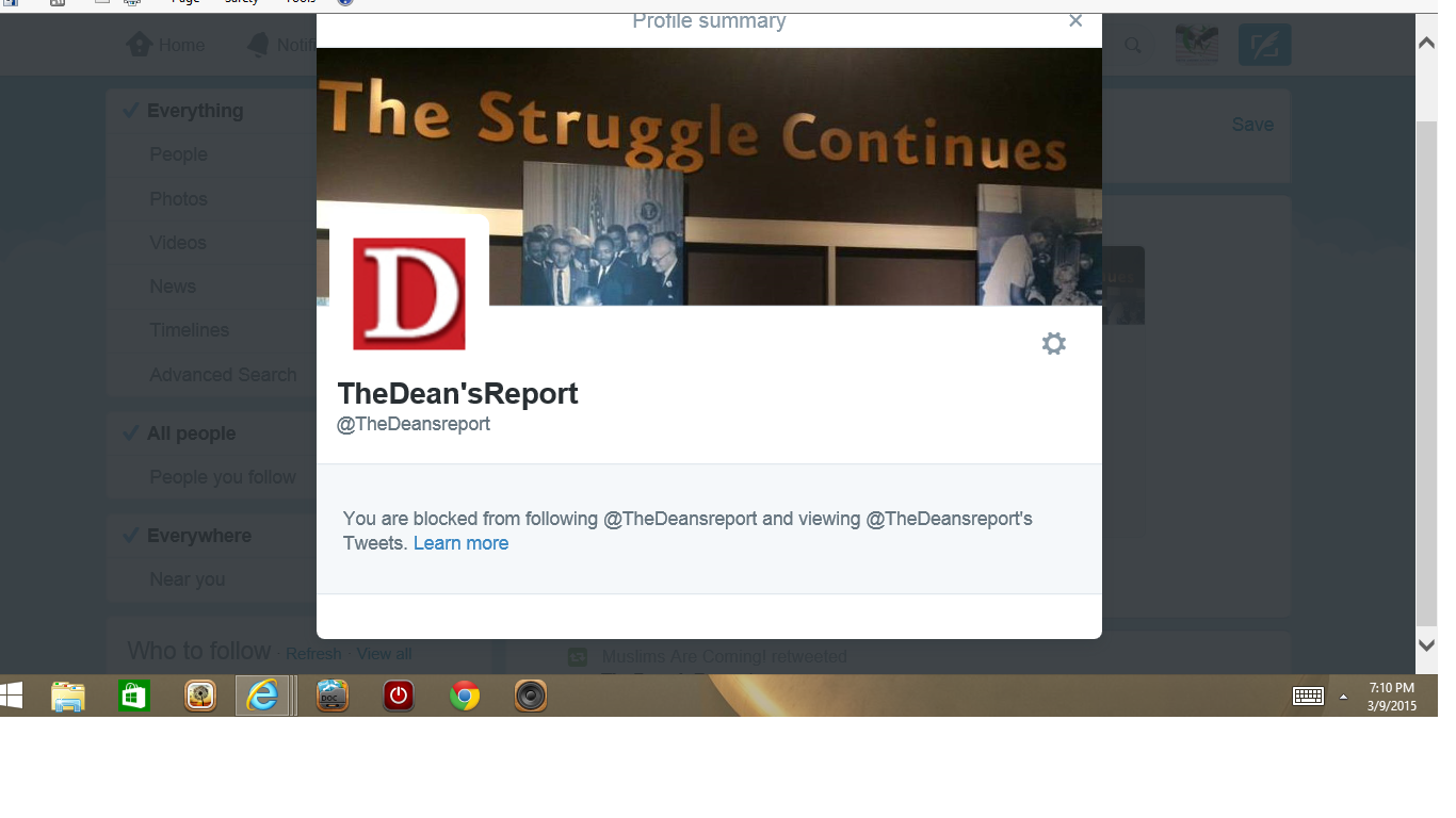 Blocked by 3 Dean's Report