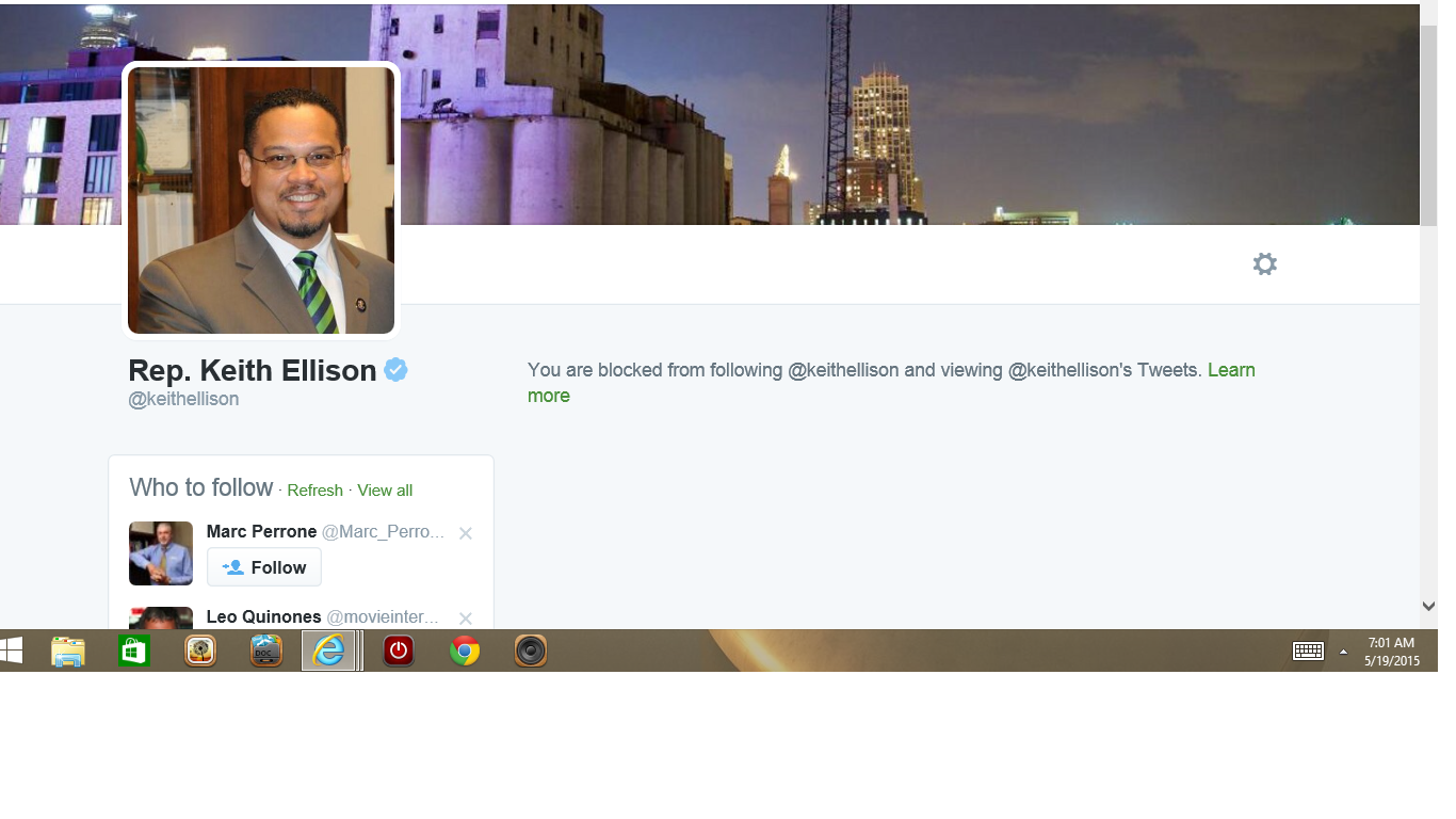 Blocked by 3 Rep Keith Ellison