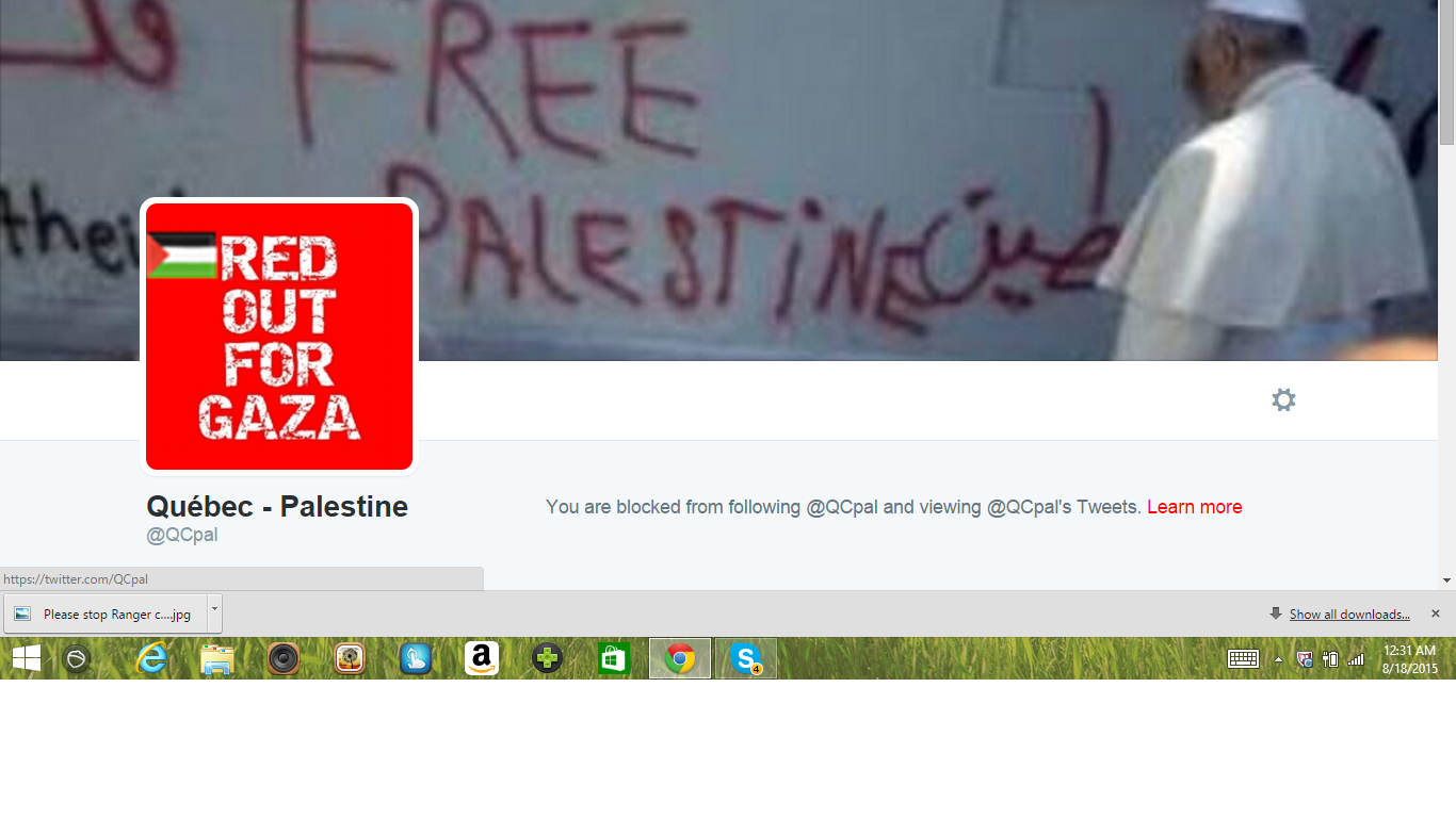 Blocked by 5 Quebec Palestine